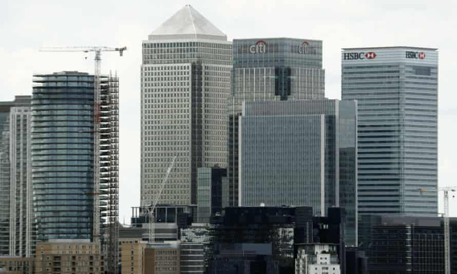 Offices of HSBC, Citigroup, JPMorgan Chase and other global banks at Canary Wharf in London