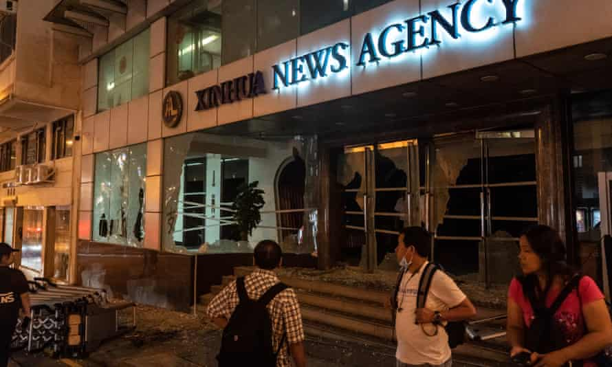 Damage to the Xinhua news agency's building in Hong Kong.