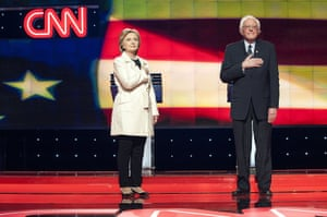 Hillary Clinton and Bernie Sanders at the debate ahead of the New York primary