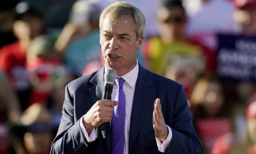 Nigel Farage speaking at a presidential campaign rally for Donald Trump in Arizona last month.