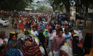 crowds in Dhaka, Bangladesh