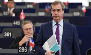 Nigel Farage at the European Parliament on Wednesday in Strasbourg, France.