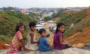Rohingya children at a refugee camp in Ukhia, Cox's Bazar, Bangladesh.