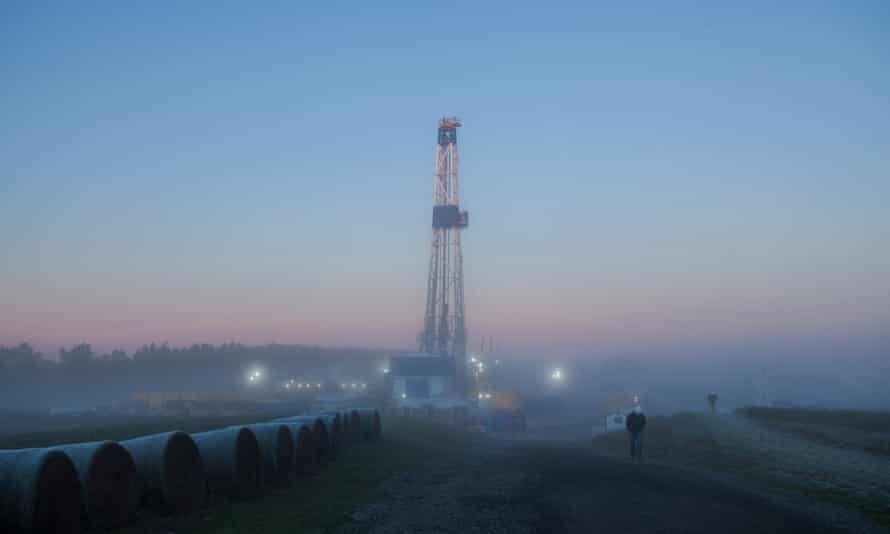A hydro fracking tower used for gas drilling in Pennsylvania.