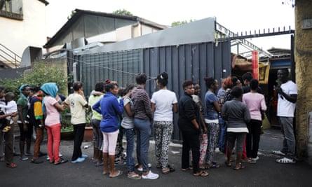 A migrant camp in Rome.