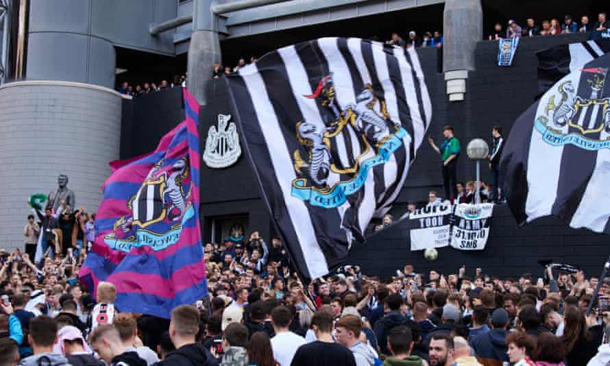 There were raucous scenes outside Newcastle's stadium on Thursday.