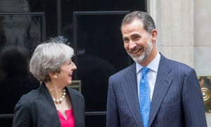 Theresa May greeting King Felipe IV of Spain at 10 Downing on Thursday