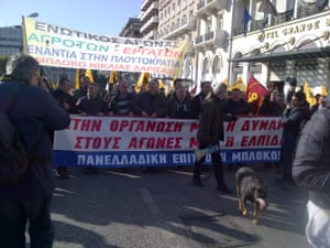 Greek farmers protesting in Athens today