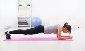 Woman in planking position