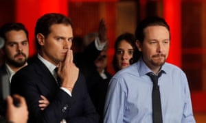 Citizens' party leader, Albert Rivera (left), and Unidas Podemos' leader, Pabo Iglesias. Citizens look set to lose seats to Vox.