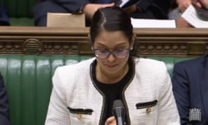 Priti Patel reads a statement to the house on the tragedy in Essex.