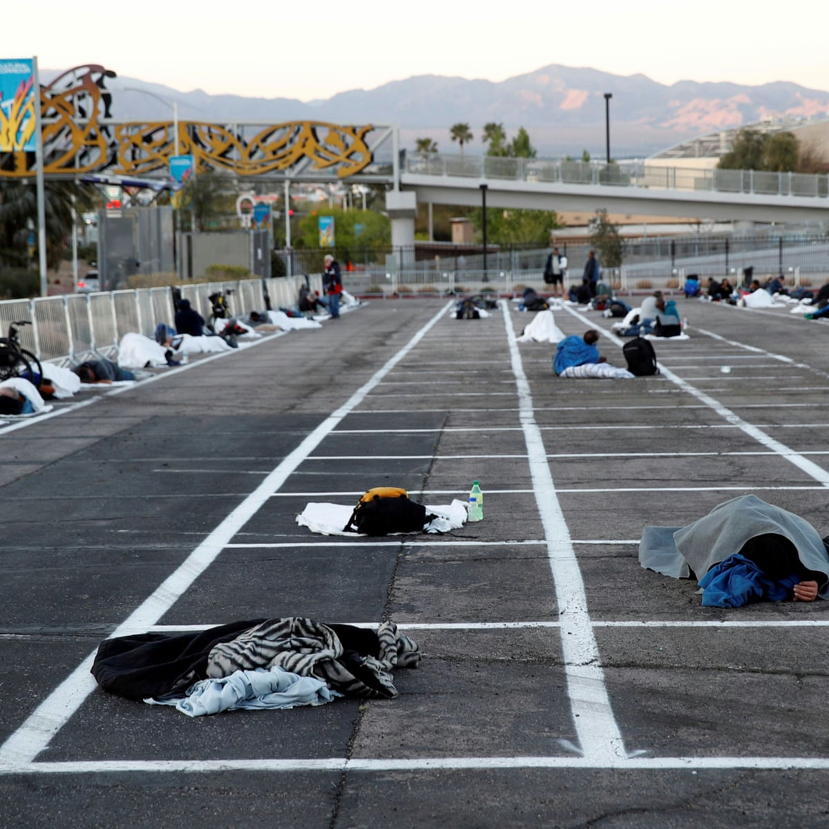 Las Vegas Parking Lot Turned Into Homeless Shelter With Social Distancing Markers Las Vegas The Guardian