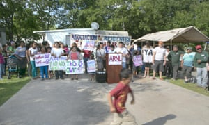 Demonstration Against Evictions At A Trailer Park In Austin Texas The North Lamar