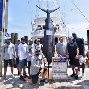 Michael Jordan, right, and the crew of his 80-foot fishing boat named Catch 23.