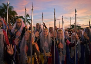 Nymphs pray during their biggest ceremony of the year at their temple complex in Vale do Amanhecer