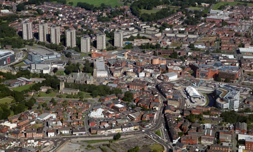 Aerial view of Rochdale.