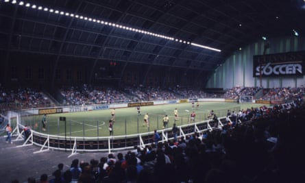 Crowds pack into the G-Mex Centre in Manchester for the the Guinness Soccer Six championship in 1986.