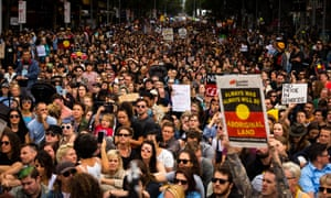 Thousands of Melburnians march through Melbourne on 26 January 2017 to protest against the celebration of Australia Day.