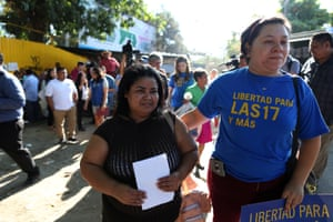 Maira Veronica Figueroa, who was sentenced to 30 years of jail under charges of abortion, is released from jail after the supreme court of El Salvador commuted her sentence, 13 March 2018