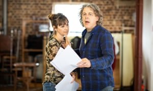 Alexandra Gilbreath and Alan Davies in rehersals for God's Dice.