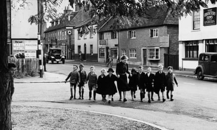 Young evacuees out for a stroll in their new surroundings, 1940.