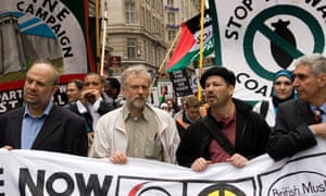 Jeremy Corbyn at a Palestinian Solidarity Campaign demonstration, London, May 2009.