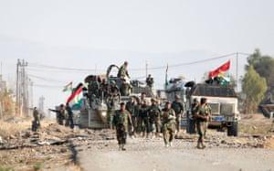 Peshmerga patrol on a road