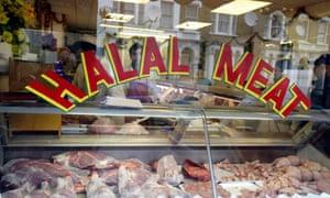 Halal meat in butcher's window