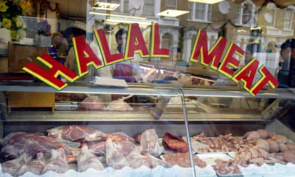 Halal meat in London butcher's window.