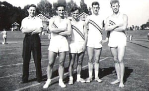 Loughborough Colleges 4 x 110 yards relay team, 1960. From left: Geoff Gowan, Reg Holmes, Dave Crane, Ray Barrow, Robbie Brightwell.