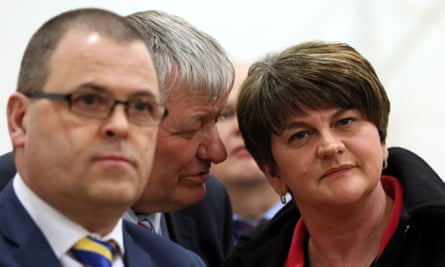 DUP leader Arlene Foster (R) at the count centre in Omagh, Co Tyrone, on 3 March