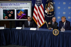 Donald Trump listens to Dr Anthony Fauci, director of the National Institute of Allergy and Infectious Diseases, during a briefing on the coronavirus.