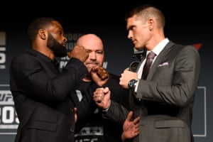 Tyron Woodley and Stephen Thompson face off during the UFC 205 press conference.