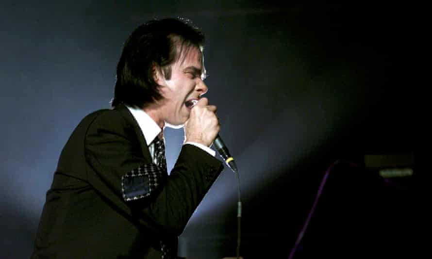 Nick Cave on stage in Manchester, 2001