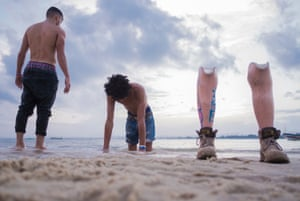 Zulu Rema enjoying the water with a fellow breakdancer