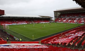 An overview of Aberdeen's home stadium Pittodrie in the game against the Rangers.