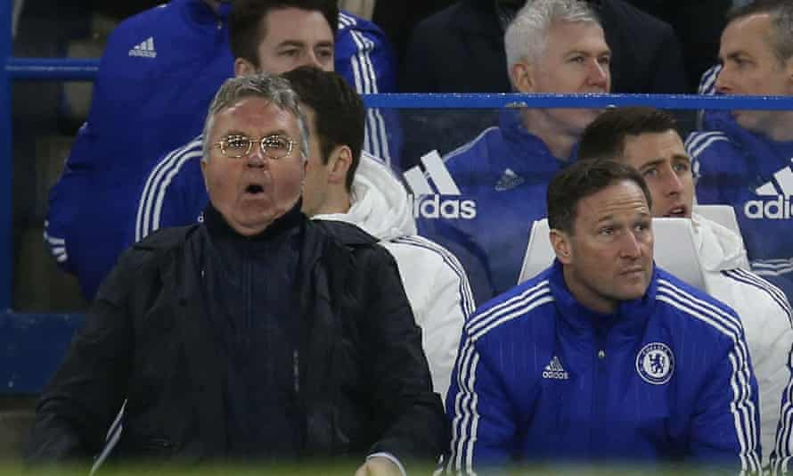 Guus Hiddink watches on during Chelsea's recent draw with West Brom.