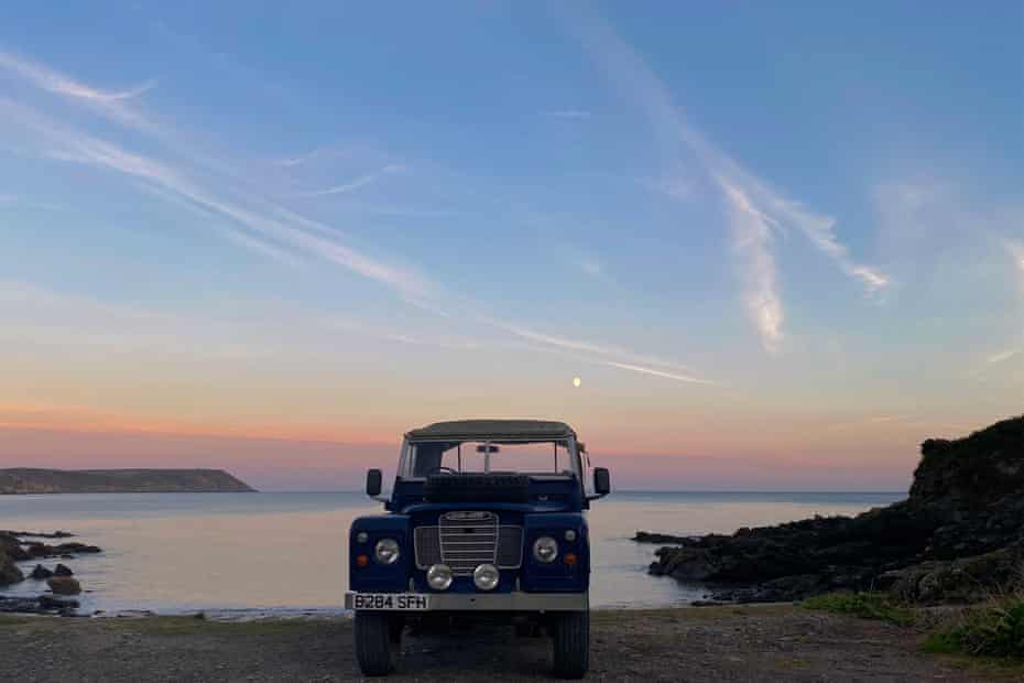 Land Rover parked somewhere on the Roseland Heritage Coast, Cornwall. Image taken at dusk.