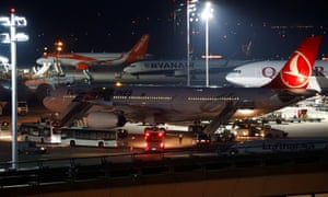 A Turkish plane arrives at Tegel airport in Berlin