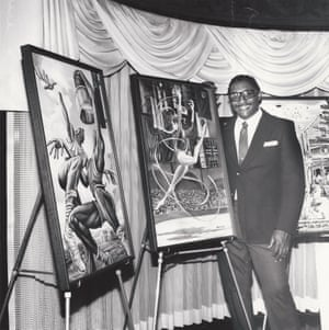 Barnes with his 1984 Olympics artwork.
