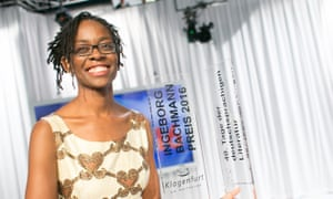 Sharon Dodua Otoo receives the Bachmann Award at the award ceremony in Klagenfurt, Austria.
