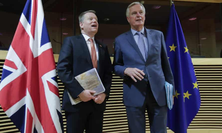 David Frost and Michel Barnier, as seen on 2 March.