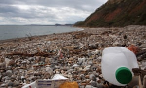 Discarded plastic washed up the beach in Branscombe, England.