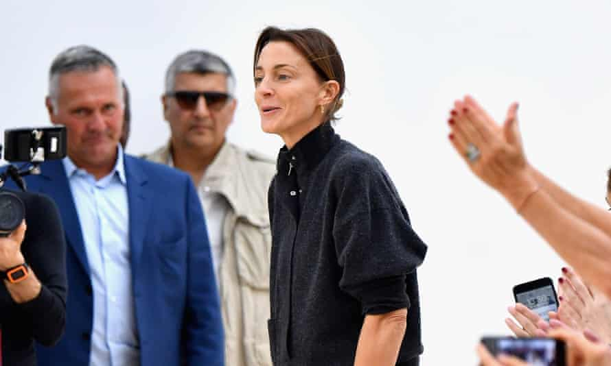 Phoebe Philo on the runway during the Céline show at Paris Fashion Week in 2016.