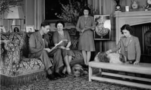 Elizabeth, standing, Margaret, right, and their parents at Windsor Castle in 1942.