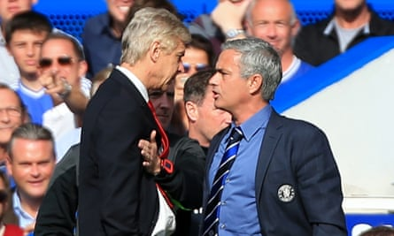 Arsène Wenger, left, and José Mourinho clash in 2014 when Arsenal played at Chelsea.