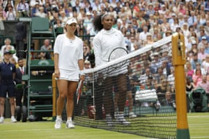 Angelique Kerber and Serena Williams line up ahead of the final.