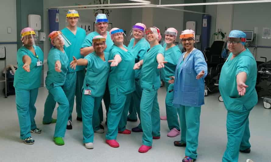 Health workers in Ashford, Kent wear visors made by Chatham and Clarendon grammar school