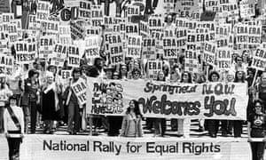 An estimated 10,000 marchers descend on the Capitol building in Springfield, Ill to demonstrate for the passage of the Equal Rights Amendment 16 May 1976.