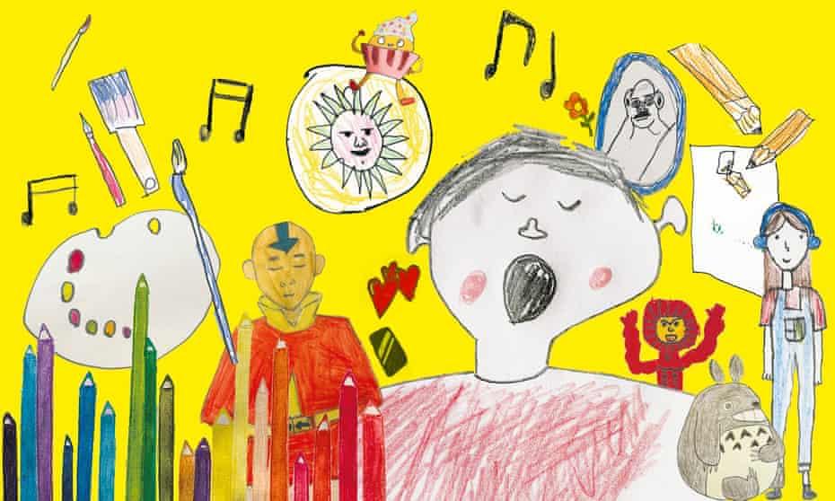 Composite of children's illustrations of lockdown pastimes